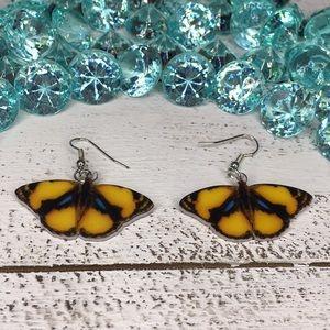 Jewelry - Yellow Tropic Acrylic Butterfly Earrings